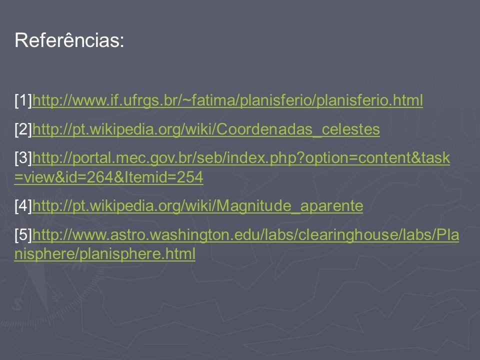 Referências: [1]http://www.if.ufrgs.br/~fatima/planisferio/planisferio.html. [2]http://pt.wikipedia.org/wiki/Coordenadas_celestes.